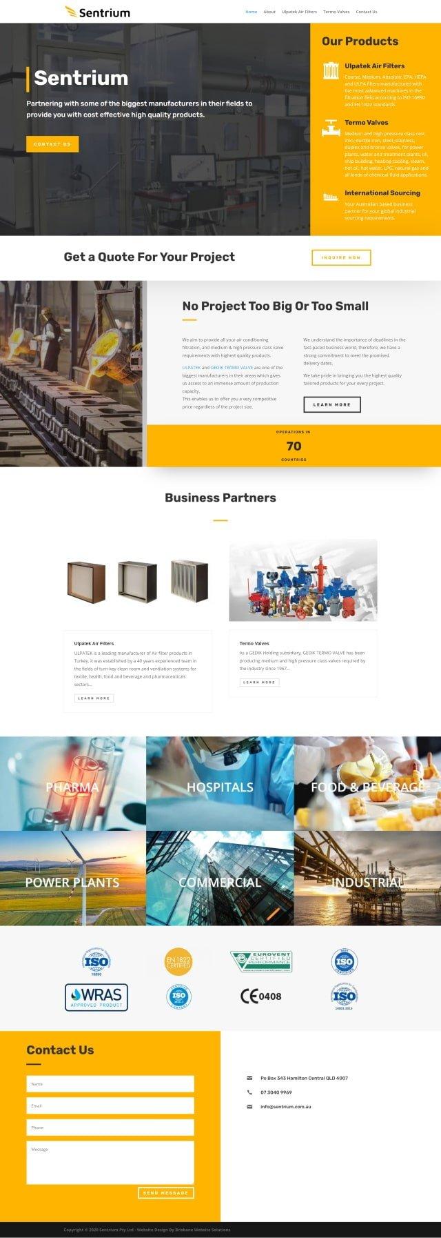 Brisbane Website Solutions - Sentrium - portfolio image