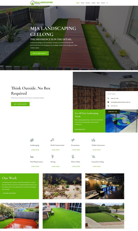 MJA Landscaping Webpage Screenshot